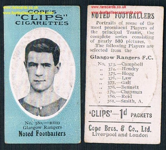 1910 Glasgow Rangers Reid 380 Cope Clips cigarettes noted footballers